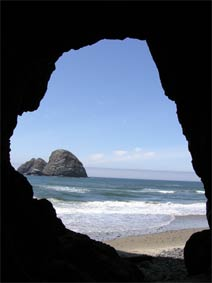 Oceanside Rocks Seen Through Tunnel